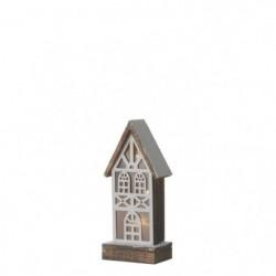 Maison de Noël à piles - 13 x 9 x 31 cm - Marron - 2 piles A