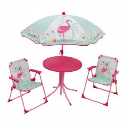 FUN HOUSE 713088 FLAMANT ROSE Salon de jardin avec une table