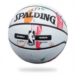 SPALDING Ballon de basket-ball NBA Marble Mc Outdoor - Blanc