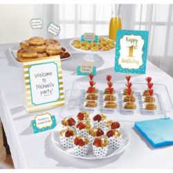 AMSCAN Kit de décoration Buffet 1st Birthday 12 pieces Bleu