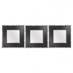 Lot de 3 miroirs carrés classiques - 25x25 cm - Noir