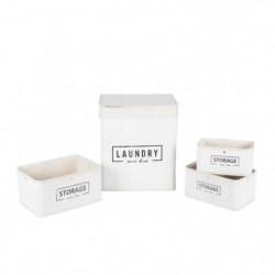 Lingere et 3 paniers en bambou et polyester - Blanc - 35x25x42