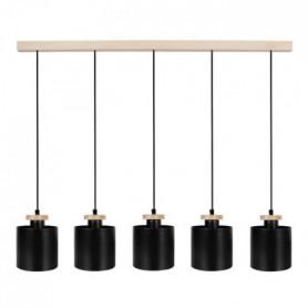 UZIBUZE Lustre 5 tetes en bois et acier - L90 x Ø1