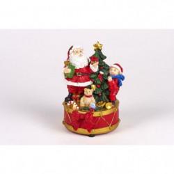 Pere Noël avec enfant et sapin - Polyrésine - LED clignotant