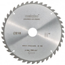 METABO Lame de scie circulaire Precision cut - 216 mm - 40 dents