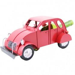 Porte bouteille métal voiture 2cv rouge