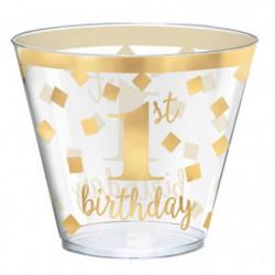 AMSCAN Lot de 30 Gobelets plastique 1st Birthday 266 ml