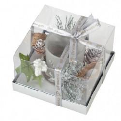Bougeoir décor de Noël en verre - L 11,5 x l 11,5 x H 7 cm