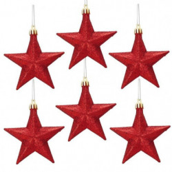 Lot de 6 Suspensions de Noël Etoiles Rouge 12 cm