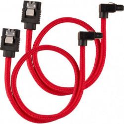 CORSAIR Câble gainé Premium SATA 6Gbps Rouge 30cm 90°