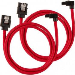 CORSAIR Câble gainé Premium SATA 6Gbps Rouge 60cm 90°