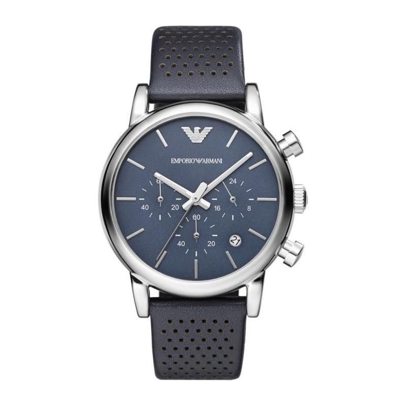 Bracelet Homme Cuir Bleu Armani Ar1736 Montre BQrsxthdC