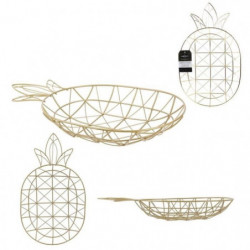 THE HOME DECO FACTORY Corbeille filaire Ananas M12 Doré
