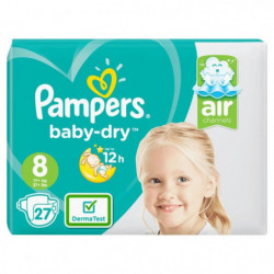 PAMPERS Baby Dry Taille 8, 17+ kg, 27 couches