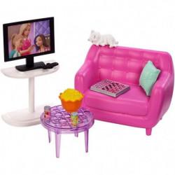 BARBIE - Soirée TV - Mobilier de Poupée & accessoires