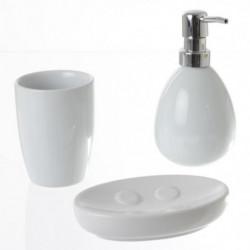 Set de 3 accessoires salle de bain - Blanc brillant