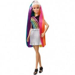 BARBIE - Barbie Chevelure Arc-en-Ciel Paillettes - Poupée