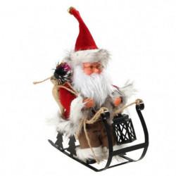 Personnage de Noël : Pere Noël automate sur luge - H 25 x 24 cm