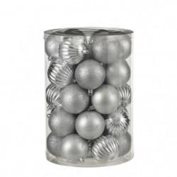 Boule incassable argent 34 pieces - d7cm