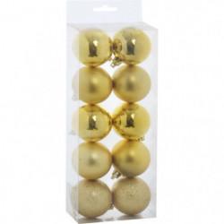 Set de 10 Boules de Noël - 5 cm - Or