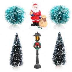 Lot de 6 accessoires pour village de Noël - H 17 x L 5 x 26 cm