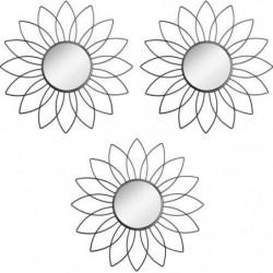 ATMOSPHERA Lot de 3 miroir en forme de fleur - Métal, verre
