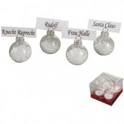 Lot de 4 Porte-noms décoré en verre blanc Ø 4cm