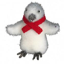 Figurine de Noël : Pingouin avec écharpe blanc et rouge 14cm
