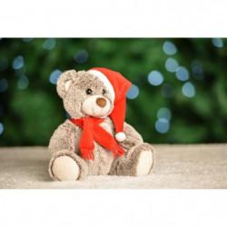 Figurine de Noël Ours brun avec bonnet et écharpe
