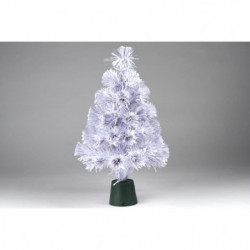 Sapin blanc de Noël - H 45 cm - Fibre optique LED rouge