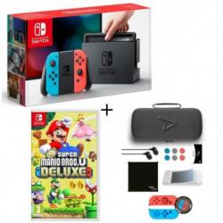 Pack Nintendo Switch Néon + Super Mario Bros U Deluxe + …