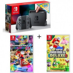 Pack Nintendo Switch Grise Edition Limitée + New Super Mario U Deluxe