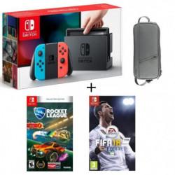 Pack Nintendo Switch Néon + Fifa 18 + Rocket League + Housse