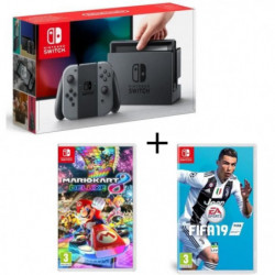 Pack Nintendo Switch Grise + Fifa 19 + Mario Kart 8 Deluxe