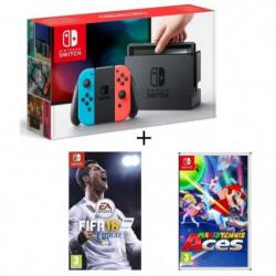 Pack Nintendo Switch Néon + Fifa 18 + Mario Tennis Aces