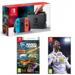 Pack Foot Nintendo Switch Néon + Fifa 18 + Rocket League