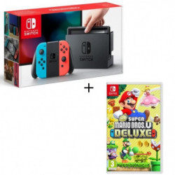 Pack Nintendo Switch Néon + New Super Mario Bros U Deluxe