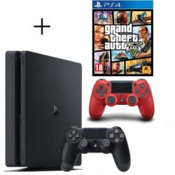 Pack PS4 500 Go Noire + Manette DualShock 4 Rouge PS4 V2 + GTA V