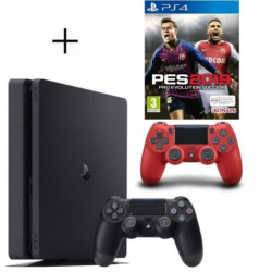 Pack PS4 500 Go noire + 2eme manette rouge offerte + PES 2019
