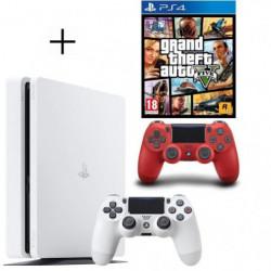 Pack PS4 500 Go Blanche + Manette PS4 DualShock 4 Rouge V2 + …