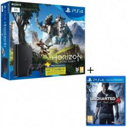 Nouvelle PS4 Slim Noire 1 To + 2 jeux : Horizon