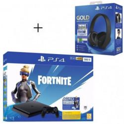 Pack Playstation : PS4 Slim 500 Go Noire + Voucher Fortnite