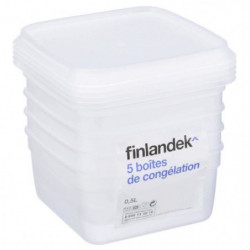 FINLANDEK Lot de 5 boîtes de congélation carrée - 0,50L