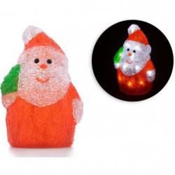 Pere Noël avec sapin - 16 LED - 3V - H18 cm