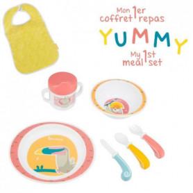 BADABULLE Coffret Repas Yummy Corail - Set Vaisselle 7 pieces