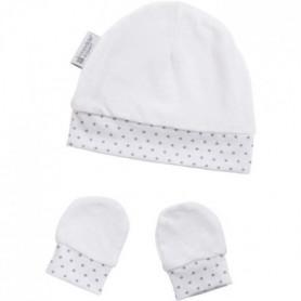 CANDIDE Bonnet & moufles naissance étoiles