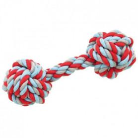 Grande haltere en corde 30cm - Tricolore - Pour chien