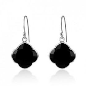 CAPUCINE Boucles d'oreilles argent/Onyx Noir