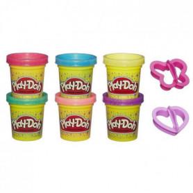 Play-Doh – 6 pots de Pâte A Modeler a Paillettes et 2 accessoires