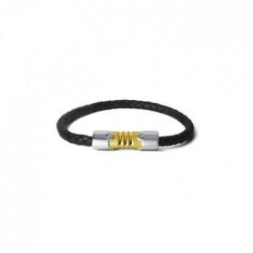 LAMBORGHINI Bracelet Acier Bicolore Triangle Cuir
